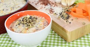 מרק קרם עוף עם אורז פרא
