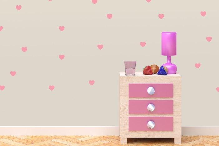 מדבקות קיר מדגם לבבות