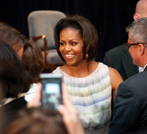 First Lady Michelle Obama met with some of the people responsiable for the new Food Icon MyPlate that was announced on Thursday, Jun. 2, 2011in the Jefferson Auditorium, U. S. Department of Agriculture (USDA). This new icon will replace the USDA's MyPyramid image as the government's primary food group symbol.  MyPlate is an easy-to-understand visual cue to help consumers adopt healthy eating habits that are consistent with the 2010 Dietary Guidelines for Americans.  MyPyramid will remain available to interested health professionals and nutrition educators in a special section of the new website. USDA photo by Lance Cheung.