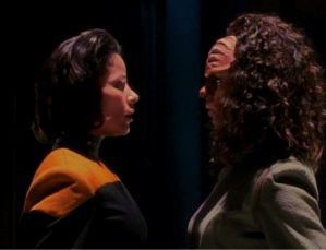 "Human and Klingon B'Elannas in ""Faces"""