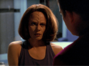 "B'Elanna talks with Paris in ""Lineage"""