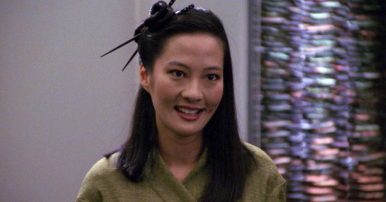 "Keiko smiling in her civilian clothes, from ""Data's Day"""