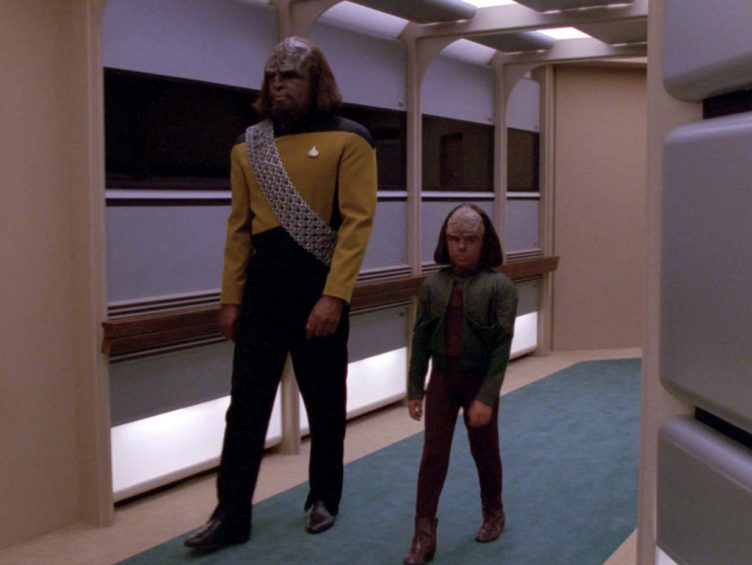 "Worf walks Alexander down the hall in ""New Ground"""