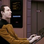 Data at his station on the bridge