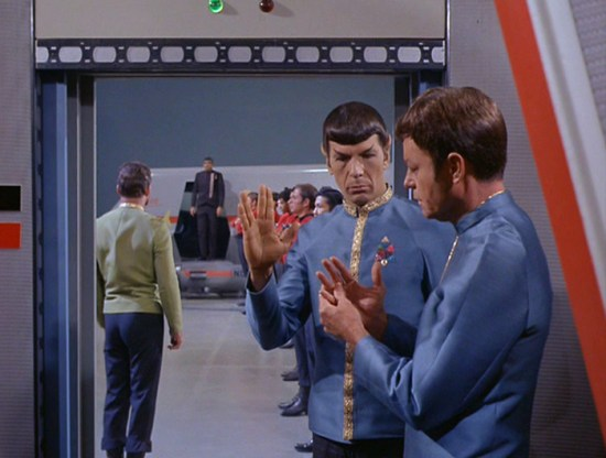 "Spock shows McCoy the Vulcan salute in ""Journey to Babel"""