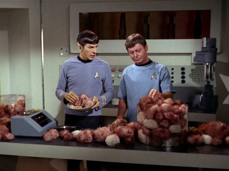 "Spock and McCoy in ""The Trouble with Tribbles"""