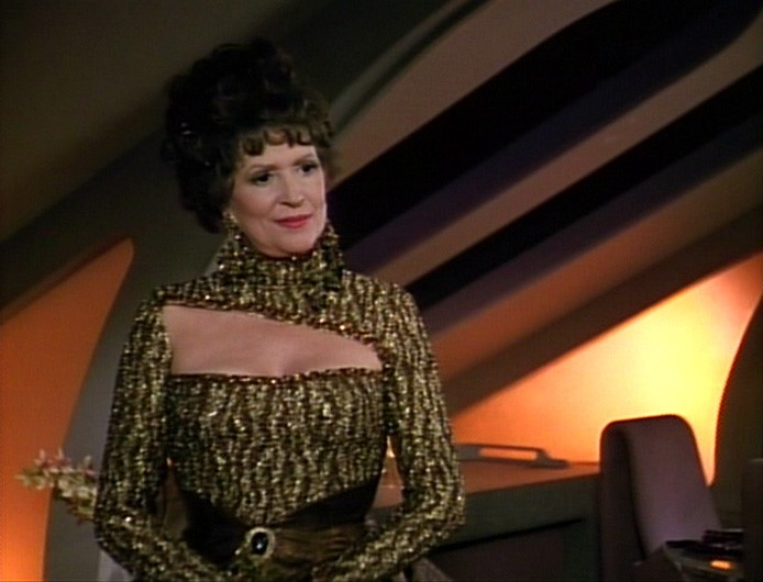 Lwaxana Troi in gold dress