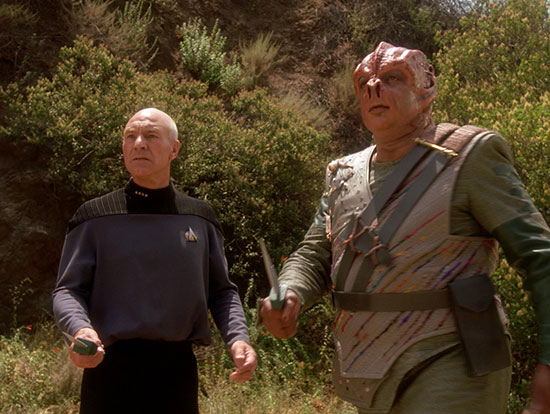"Picard and Dathon in ""Darmok"""