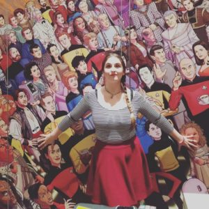 Grace in front of a TNG mural