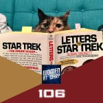 Photo of a cat reading Letters to Star Trek
