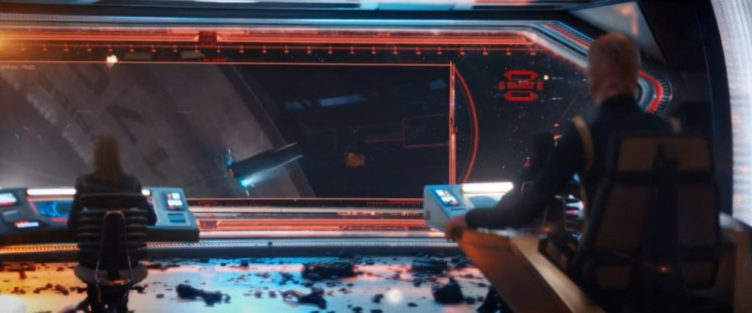 The Discovery bridge is in crisis - on the viewscreen they see an undetonated torpedo in the hull of the Enterprise
