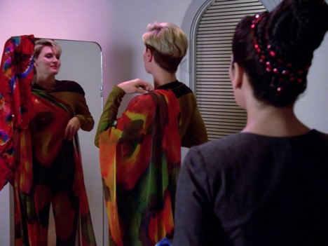 Tasha tries on Deanna's clothes in The Naked Now (Season 1, episode 2, TNG)