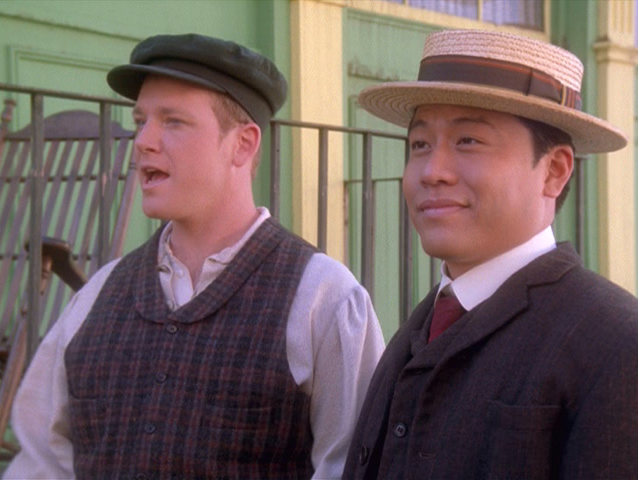 "Tom Paris and Harry Kim in Irish period garb in ""Fair Haven"""