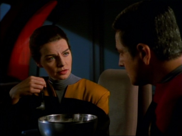 """Seska eats soup with Chakotay in """"State of Flux"""""""