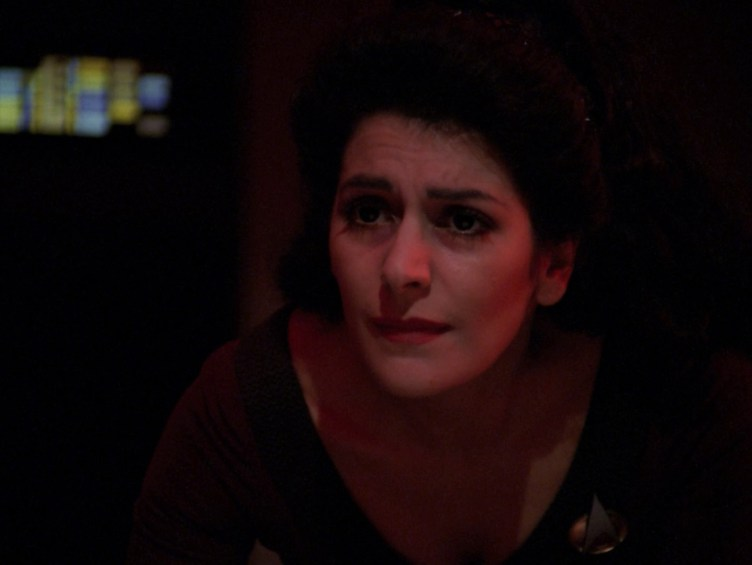 """Troi implores Worf not to end his life in """"Night Terrors"""""""