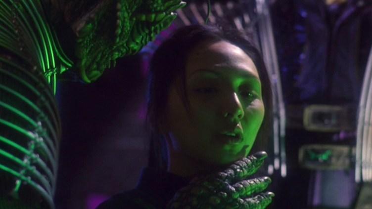 "Hoshi in ""Countdown"" with a Xindi reptilian hand around her throat"