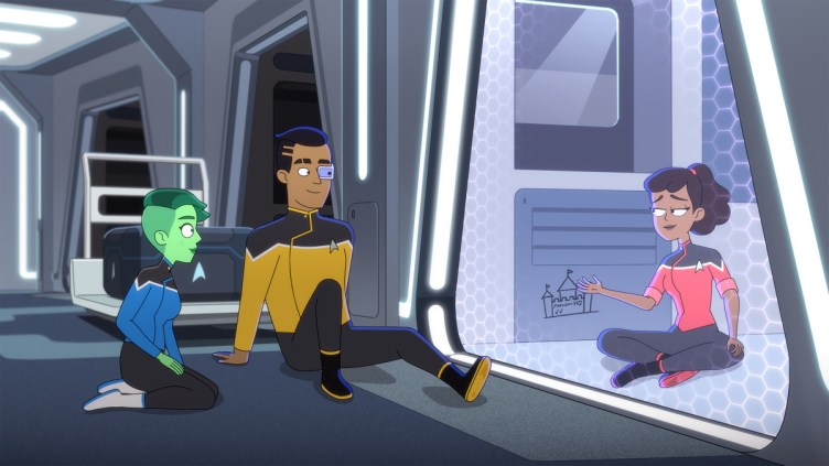 """""""Strange Energies"""" -- Noël Wells as Ensign Tendi, Eugene Cordero. as Ensign Rutherford and Tawny Newsome as Ensign Beckett Mariner of the U.S.S. Cerritos of the Paramount+ series STAR TREK: LOWER DECKS. Photo: PARAMOUNT+ ©2021 CBS Interactive, Inc. All Rights Reserved **Best Possible Screen Grab**"""