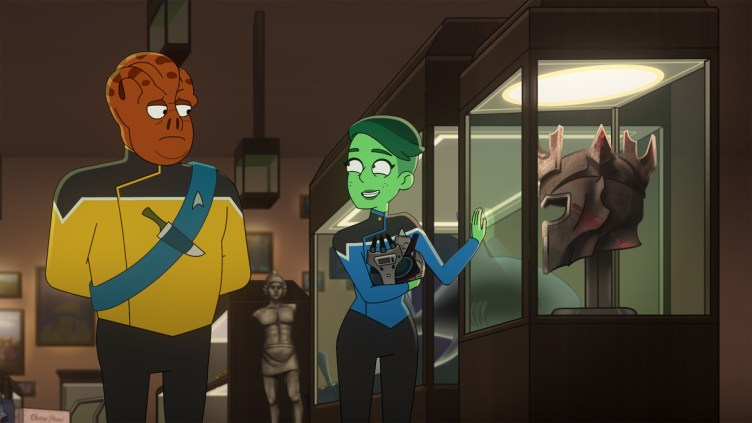 """""""Kayshon, His Eyes Open"""" --Carl Tart as Lieutenant Kayshon and Noël Wells as D'Vana Tendi of the U.S.S Cerritos of the Paramount+ series STAR TREK: LOWER DECKS. Photo: PARAMOUNT+ ©2021 CBS Interactive, Inc. All Rights Reserved **Best Possible Screen Grab**"""