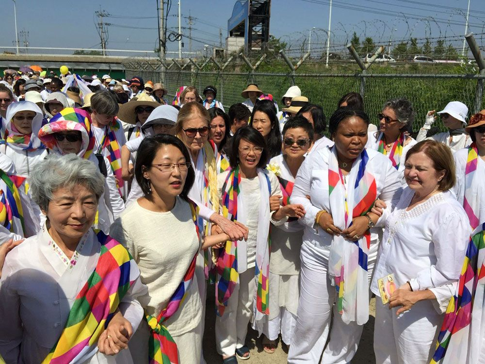Gloria Steinem, Christine Ahn, Leymah Gbowee, and Mairead Maguire were among the 30 women peacemakers who crossed the DMZ in 2015.