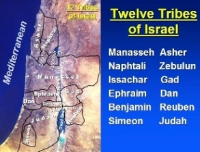 Map showing the territory of the 12 Tribes of Israel