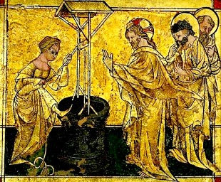 Exquisite gold mosaic, German, 1420, showing the Samaritan in a practical but not very modest position for drawing water