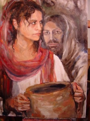Painting of the Samaritan Woman and Jesus