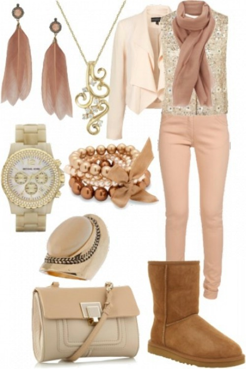 Pink clothes with UGG boots example