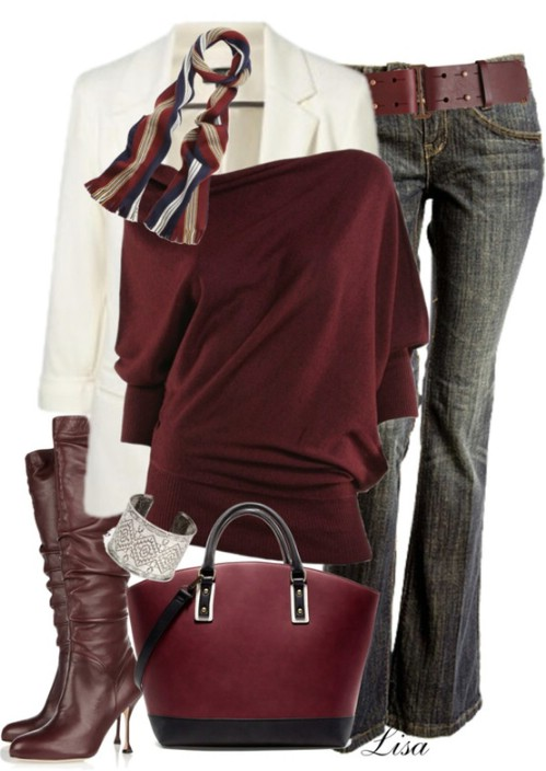 Leather knee boots eith matching outfit example