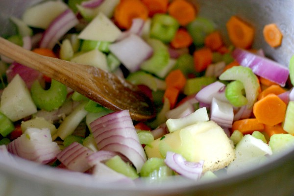 cooking the vegetables