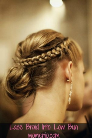 lace braid into low bun step by step