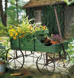 Amish wagon rack flower stand