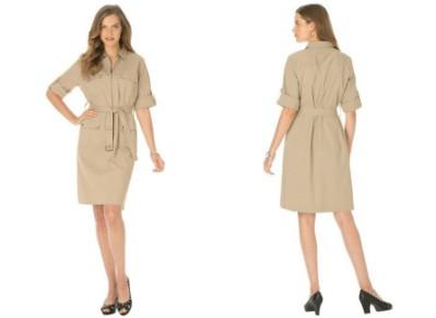Jessica London Women's Plus Size Khaki Shirtdress