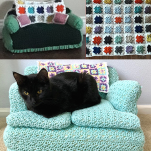 adorable cats on a crochet couch