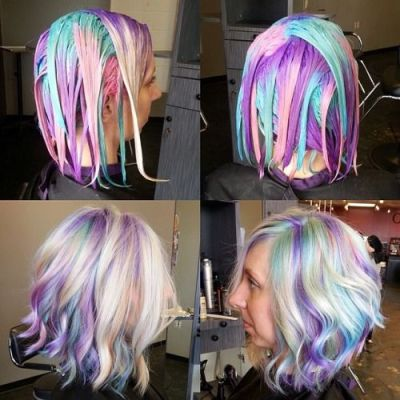 dying a woman's hair with holographic technique