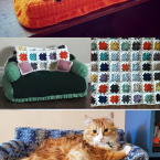 tiny crocheted cat sofa