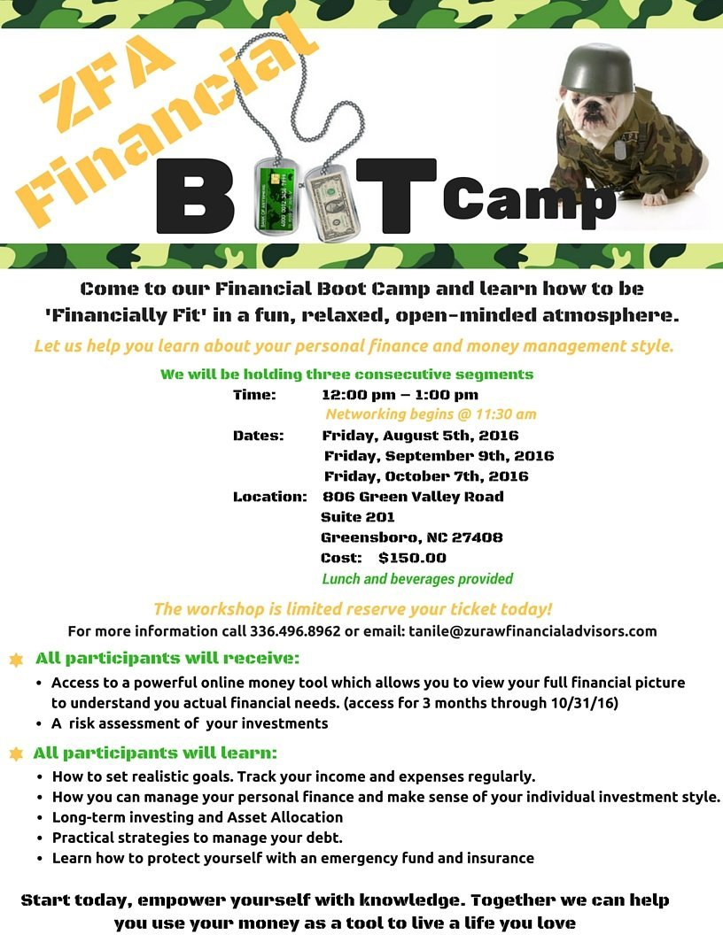 Don't Miss Our Financial Boot Camp - August 5th, 2016
