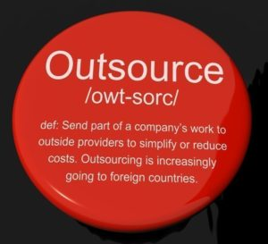 Outsource Definition Button Showing Subcontracting Suppliers And