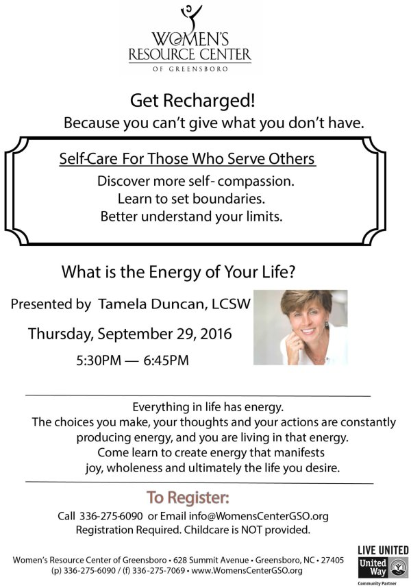 Get Recharged at the Women' Resource Center of Greensboro - Sign Up Today!