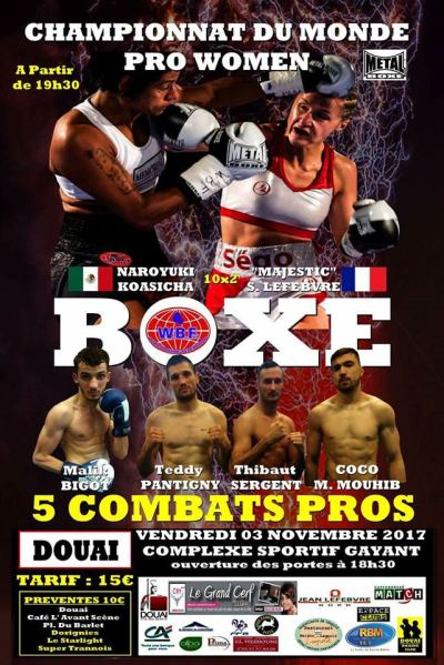 November 3rd: WBF Champion Segolene Lefebvre Defends her Title Against Naroyuki Koasicha