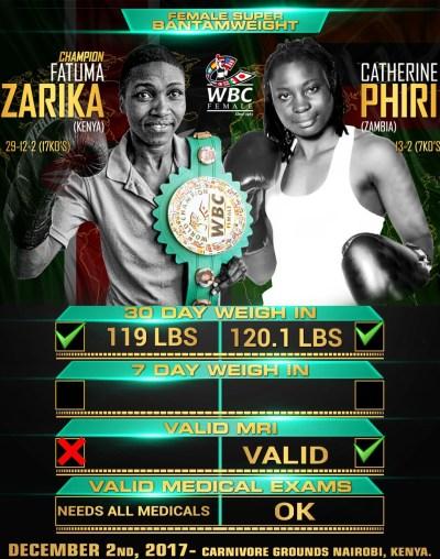 WBC Champ Fatuma Zarika and Catherine Phiri are Closing in on the December 2nd Fight Night