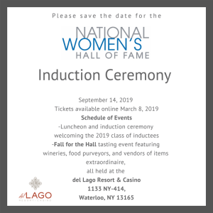 Induction Ceremony Save the Date, September 14, 2019