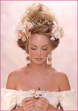 Bride Updo Hairstyle With Flowers Blond Vintage Bridal