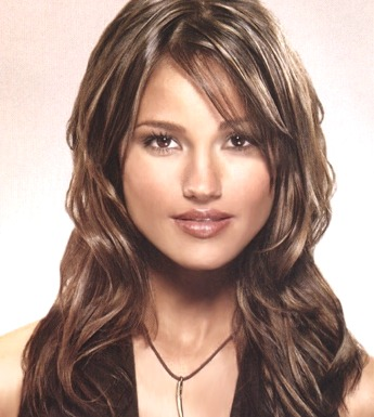 Long Wavy Hair Style With Side Part Bangs Brown