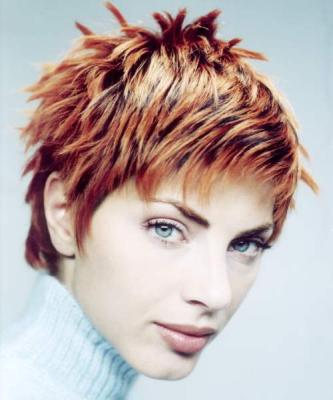 2005 Fall Hair Style Womens Layered And Spiky Red