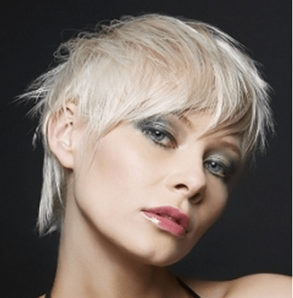 women messy short haircut with full of layers and long bang