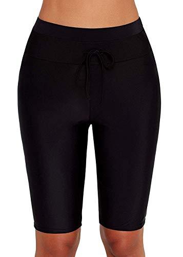 Actloe Women High Waist Boardshort Tankini Swim Bottom Knee Length Swim Shorts