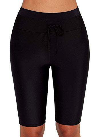 0cd20e8b5e ZDUND Womens Long Board Short High Waisted Tankini Capris Swim Shorts Swim  Pants Rash Guard Shorts