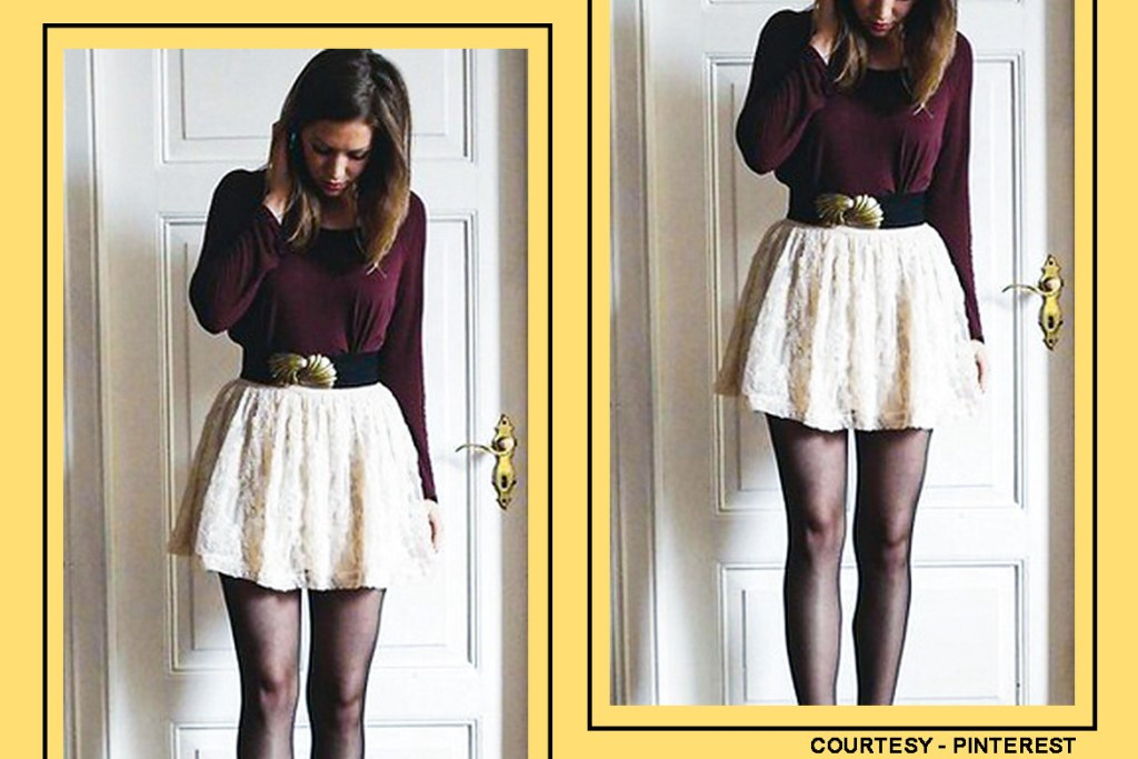 black-skater-skirt-with-a-maroon-sweater