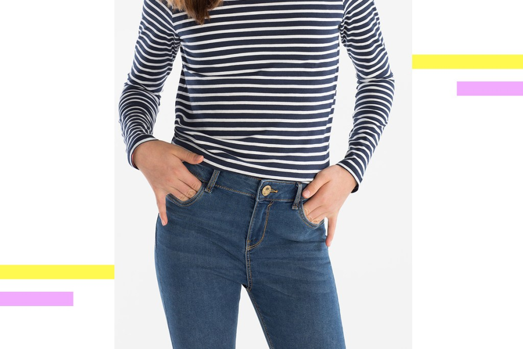 jeans with stripped top