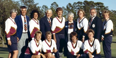 "The 1990 US Solheim Cup Team. Do you recognize Nancy Lopez who was Kathy Whitworth's ""Captains Pick"" for the first Solheim Cup? (third from left)"
